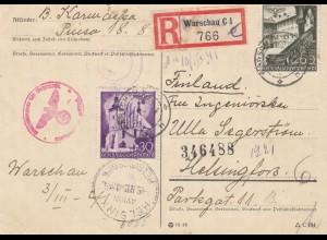 GG Finnland: Einschreiben Postkarte Warschau, portogerecht