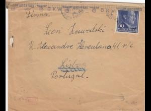 GG Portugal Brief portogerecht nach Portugal, rücks. Weiterleitung London