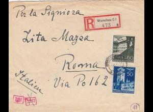 GG Italien: Brief Warschau als Einschreiben, portogerecht nach Rom, Zensur