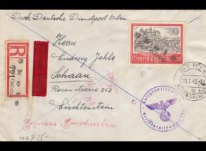 GG Liechtenstein: Einschreiben/Eil Stryj nach Schaan, SELTEN siehe Beschreibung