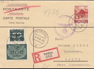 GG Liechtenstein: R-Karte Petrikau auf Antwortkarte, Einschreiben zufrankiert