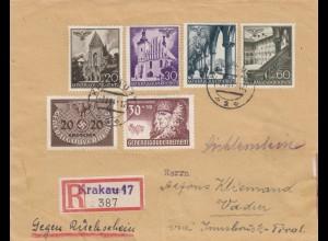 GG Liechtenstein: R-Brief mit Rückschein, 2. Gew. Stufe, portogerecht, SELTEN -V