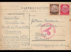 GG Litauen: Postkarte Warschau nach Vilnius, Zensur, portogerecht
