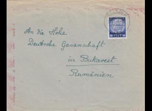 GG Rumänien: Brief Rzeszow an Dt. Gesandschaft in Bukarest, Zensur