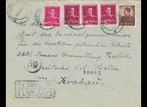 GG Rumänien: Einschreiben an Poststelle Innere Verwaltung DPO Krakau, Zensur
