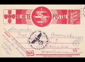 GG Portugal: Ganzsache Lisboa nach Sandomierz, Zensur