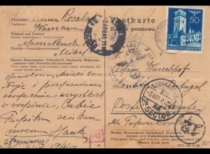 GG Portugal: Postkarte Luftpost, portogerecht Warschau, Zensur, Bug unten rechts