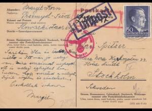 GG Schweden: Postkarte Luftpost, portogercht, Zensur Przemysl-Stockholm