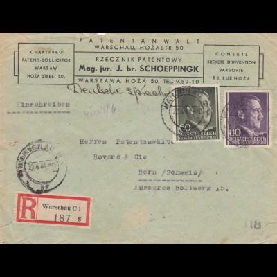 GG Schweiz Einschreiben Warschau, 2. Gew. Stufe, portogerecht nach Bern, Zensur