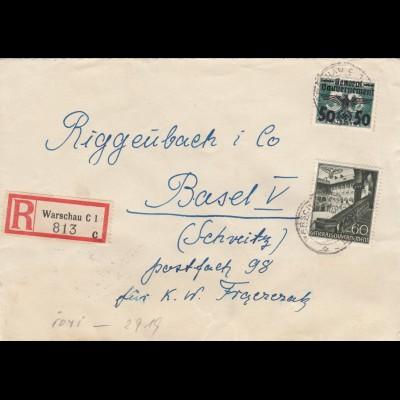 GG Schweiz Einschreiben Warschau, seltene Frankatur nach Basel, Zensur