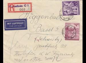 GG Schweiz portogerechter Einschreiben Luftpostbrief Warschau nach Basel, Zensur