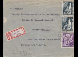 GG Schweiz: Einschreiben Bojanow nach Genf, Amerikanisches Rotes Kreuz, Zensur