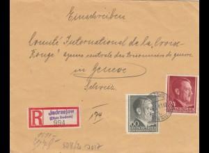 GG Schweiz: Einschreiben Jedrzejow an Rotes Kreuz Genf, Zensur