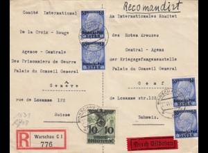 GG Schweiz: R-Eil-Brief Warschau an Rotes Kreuz Genf, Zensur, Kriegsgefangene