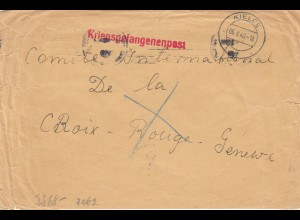 GG Schweiz: Kriegsgefangenenpost Kielce an Rotes Kreuz in Genf, Zensur