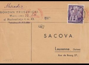 GG Schweiz: Postkarte Warschau nach Lausanne, Lebenszeichen, Zensur