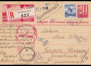 GG Schweiz: Postkarte Einschreiben Fribourg nach Warschau, Zensur