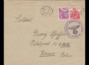 GG Schweiz: Brief aus Baden nach Krosno an FPNr. 01286