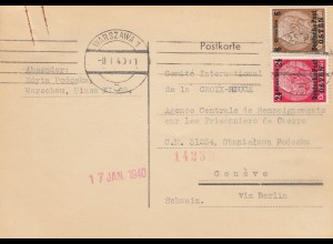 GG Schweiz Warschau als Postkarte an das Rote Kreuz, Kriegsgefangene