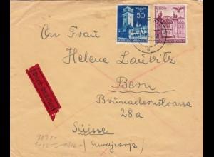 GG Schweiz Eilboten Krakau an Helene Laubitz, sieh Beschreibung, Zensur