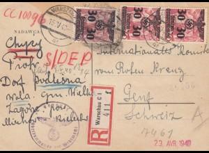 GG Schweiz Einschreiben Postkarte portogerecht von Warschau an das Rote Kreuz