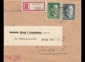 GG Schweiz Einschreiben Krakau nach Zürich, Frist zur Abholung, Zensur