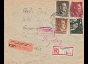 GG Schweiz Interniertenpost Einschreiben Tschenstochau nach Zugerberg, 2x Zensur