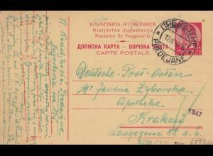 GG Serbien: Postkarte nach Krakau, Zensur