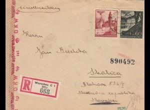 GG Slowakei: Einschreiben Warschau nach Skalica, Zensur