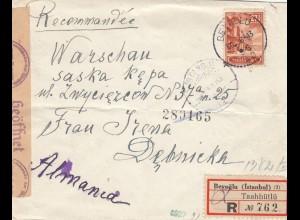 GG Türkei: Brief Beyoglu nach Warschau, Zensur
