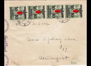 GG Ungarn: Sonderporto 40Gr. als MeF portogerecht auf Brief, Zensur, selten