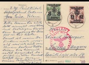GG Ungarn: Sonderporto Postkarte 20Gr, portogerecht, Zensur Radom