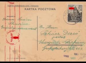 GG Ungarn: Sonderporto Postkarte 20Gr, portogerechte EF, Zensur Skawina