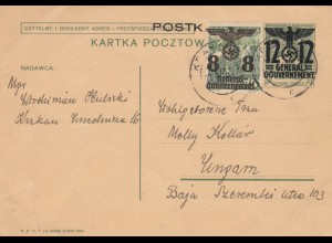GG Ungarn: Sonderporto Postkarte 20Gr, portogerecht, Zensur Krakau