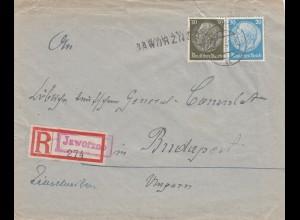 GG Ungarn: früher Brief Sonderporto 5.1.40 Jaworzno, portogerecht nach Budapest