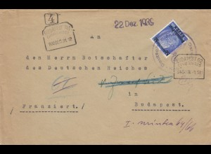 GG Ungarn: früher Brief Kombornia Auslandsporto an Botschafter in Budapest