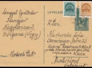 GG Ungarn: Ganzsache Nagykanizsa nach Kielce, 2.11.39