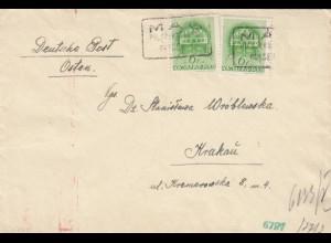 GG Ungarn: Brief nach Krakau mit Briefinhalt