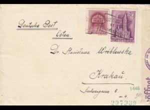 GG Ungarn: Brief nach Krakau, Zensur, mit Briefinhalt