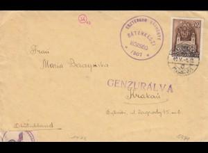 GG Ungarn: Brief nach Krakau, mit Briefinhalt, 2x Zensur