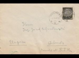 GG Ungarn: Brief Warschau Sonderporto, 2. Gew. Stufe 40+20, sehr selten, Zensur