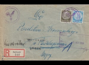 Ungarn 27.12.39, früher Brief Saybusch, Sonderporto, portogerecht, Dt. Botschaft