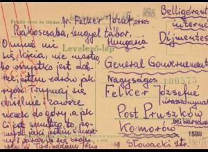 GG Ungarn: Interniertenpost nach Komorow/Pruszkow-Warschau, Zensur