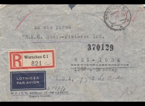 GG USA: Einschreiben Luftpost Warschau nach NY, Zensur