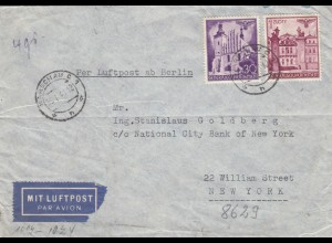 GG USA: Luftpost Warschau nach NY - Goldberg, portogerecht, Zensur, Hapag Reisebüro