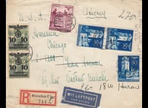 GG USA: Luftpost Einschreiben Warschau, portogerecht 10-15gr. seltene Portostufe