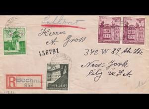 GG USA: Einschreiben Bochnia Luftpost nach NY, portogerecht bis 10gr, Zensur