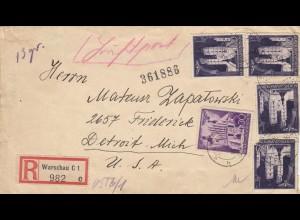 GG USA: Einschreiben Warschau Luftpost nach Detroit, portogerecht bis 20gr !!!