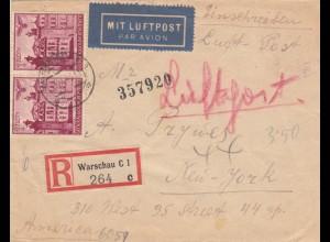 GG USA: Einschreiben Warschau Luftpost nach NY, portogerecht bis 10gr