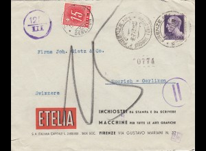 1943 Italien Etelia Firenze nach Zürich, Taxe, Zensur